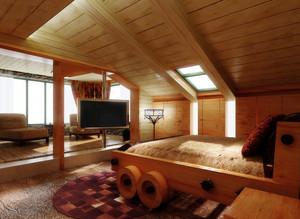 128平米现代风格斜顶阁楼装修效果图
