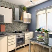 水木清华:淡雅大户型美式厨房装修设计图