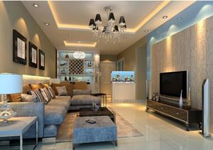 现代公寓客厅海藻泥电视海背景墙效果图