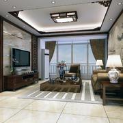 精致稳重的大户型中式客厅装修效果图