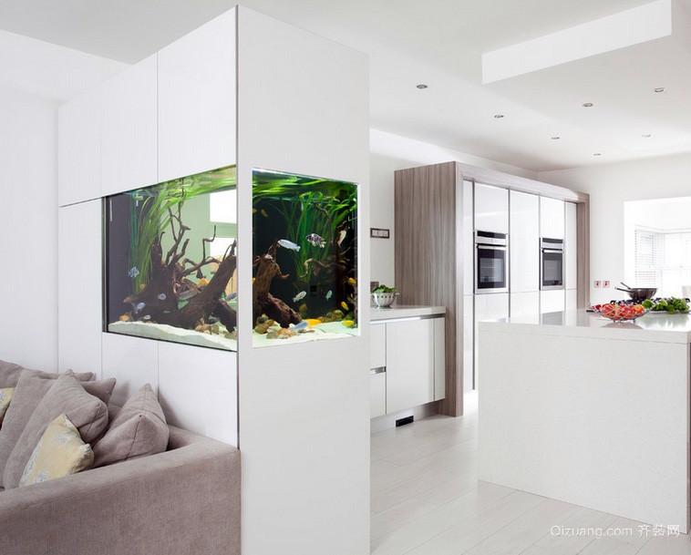 干净明丽公寓客厅鱼缸造景背景墙装修图片