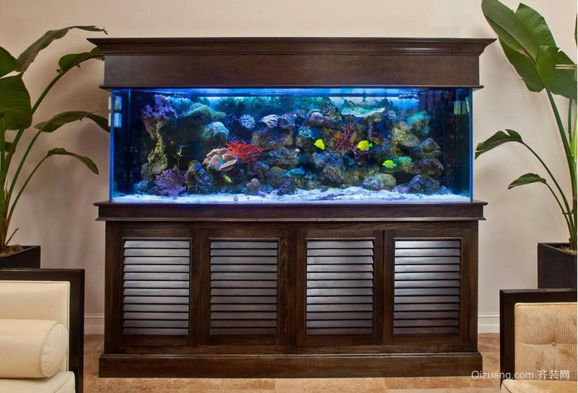 老年公寓客厅鱼缸造景装修效果图片