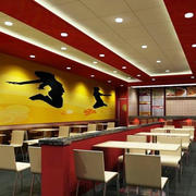 快餐店简约背景墙装饰