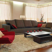 100平米都市混搭风格客厅地毯装饰图