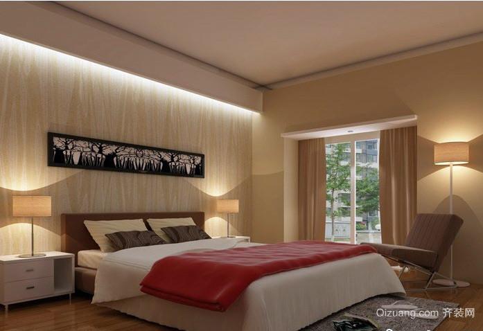 米黄色新房大卧室装修设计效果图