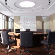 欧式简约风格圆形会议室装修效果图