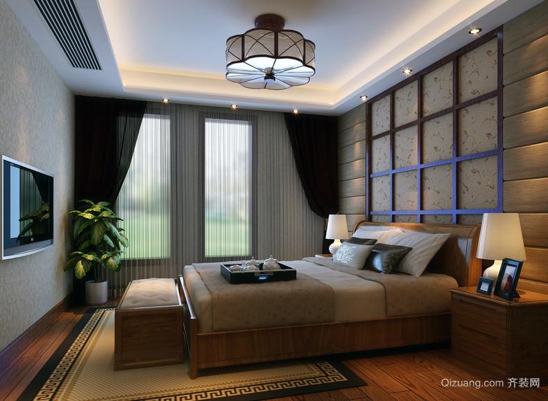 现代唯美大户型卧室背景墙装修效果图