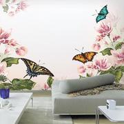 单身公寓俊美客厅手绘墙画装修效果图