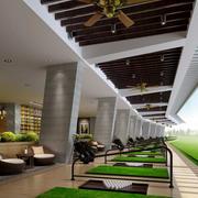 大型东南亚风格高尔夫球场原木吊顶装饰