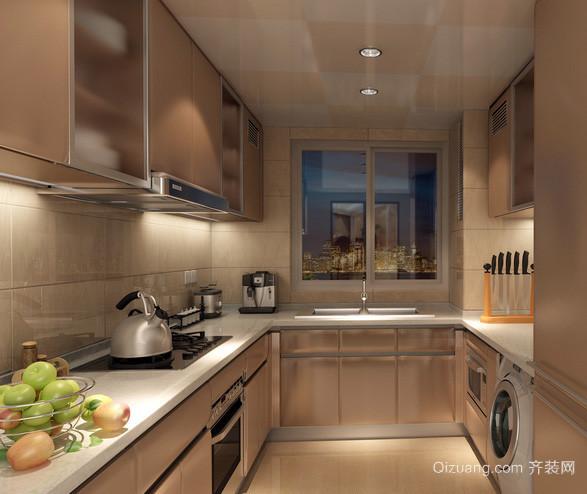 现代化时尚金属材料厨房装修效果图