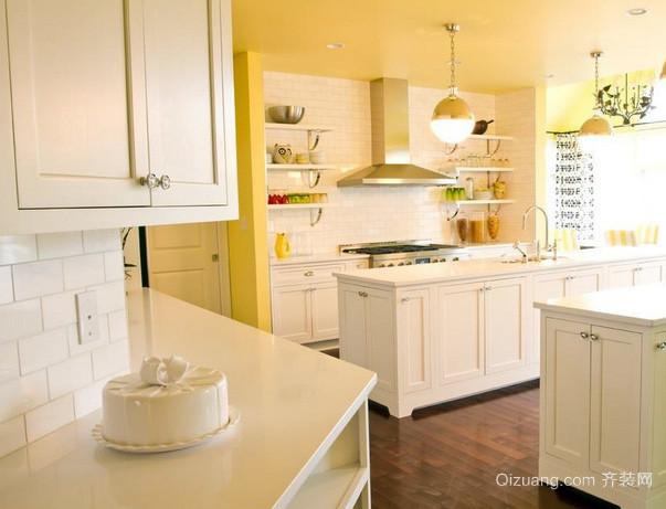别墅美式简约风格暖色系厨房装修效果图