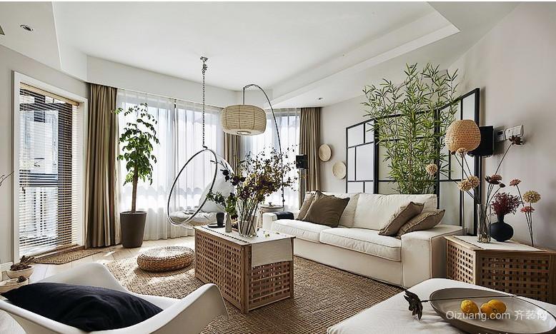现代田园客厅软装配饰设计效果图