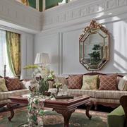 复古复式楼客厅软装配饰设计效果图