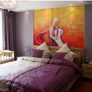 100平新房卧室手绘浮雕壁画装修效果图