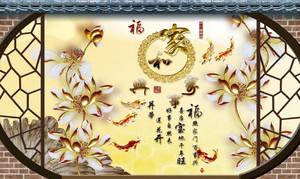 中式格调别墅手绘浮雕壁画装修效果图