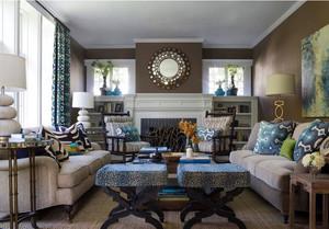 美式新古典客厅软装配饰设计效果图