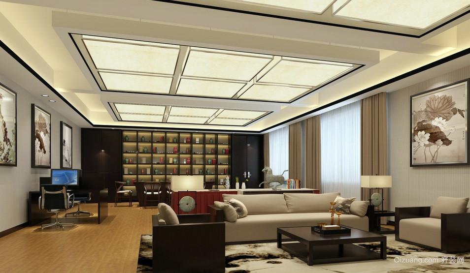 大型新中式办公室米黄色窗帘装修效果图