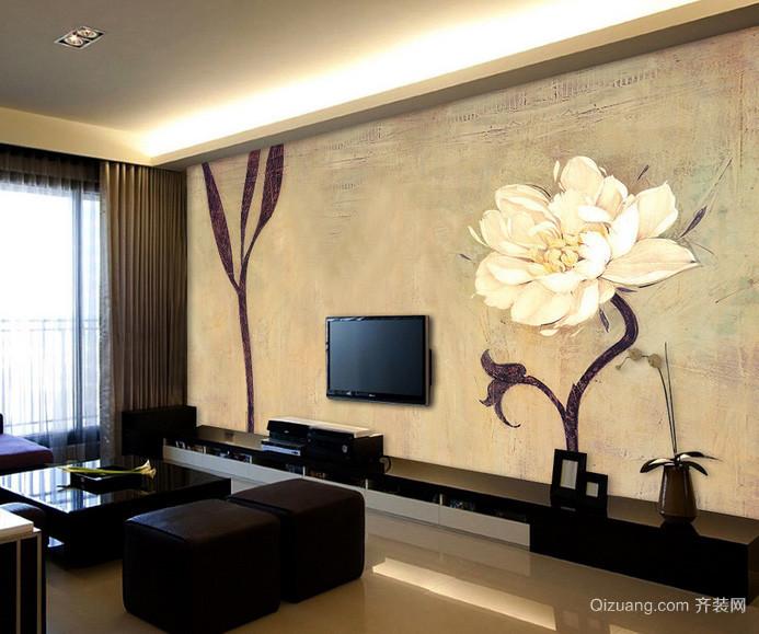 120平米大户型客厅手绘墙画效果图