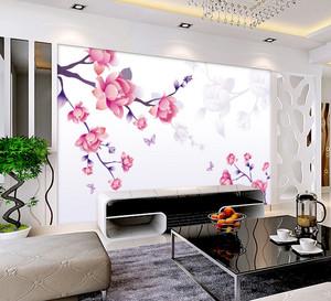 现代客厅电视背景梅花手绘墙画效果图