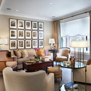 暖色现代美式客厅软装配饰设计效果图