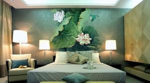 大户型卧室背景手绘墙画装修效果图