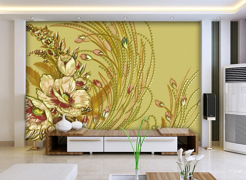 简约都市客厅手绘浮雕壁画装修效果图