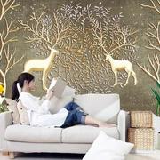 精致客厅沙发背景手绘浮雕壁画效果图