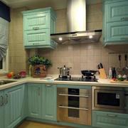 家庭厨房青色橱柜