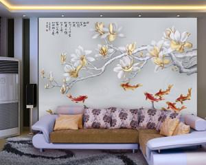 90平米新中式客厅逼真手绘浮雕壁画装修图