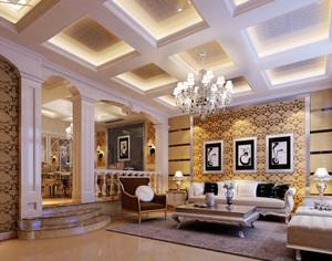 现代欧式别墅型客厅吊顶装修效果图