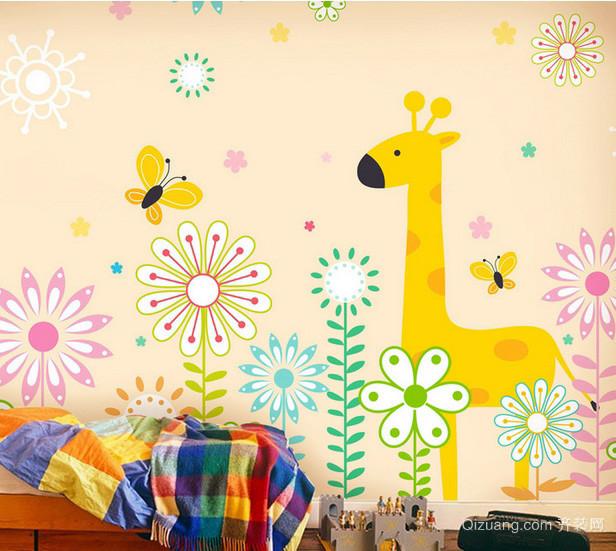 小户型儿童房彩色手绘墙画装修效果图