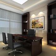 庄重现代办公室冷色调窗帘装修效果图