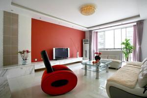 家庭客厅红色电视背景墙