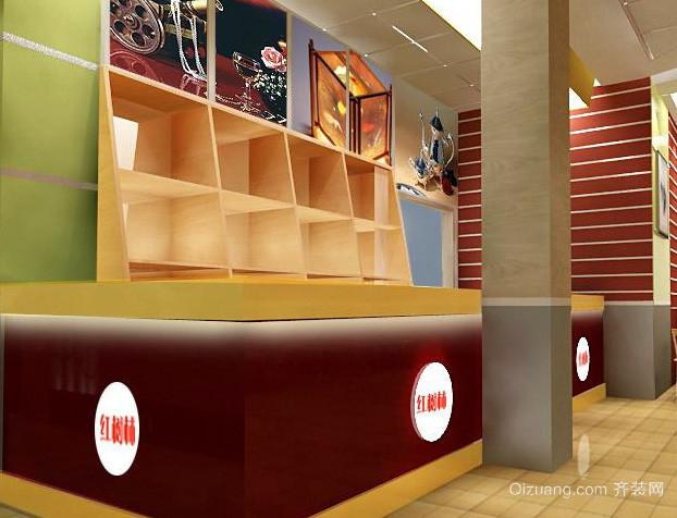 小型简约风格快餐店柜台装修效果图