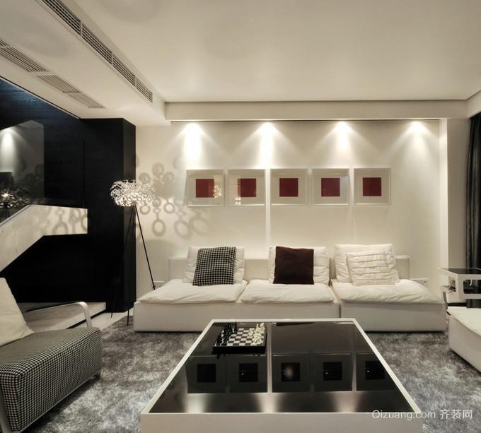 男士黑白公寓客厅沙发背景墙设计效果图