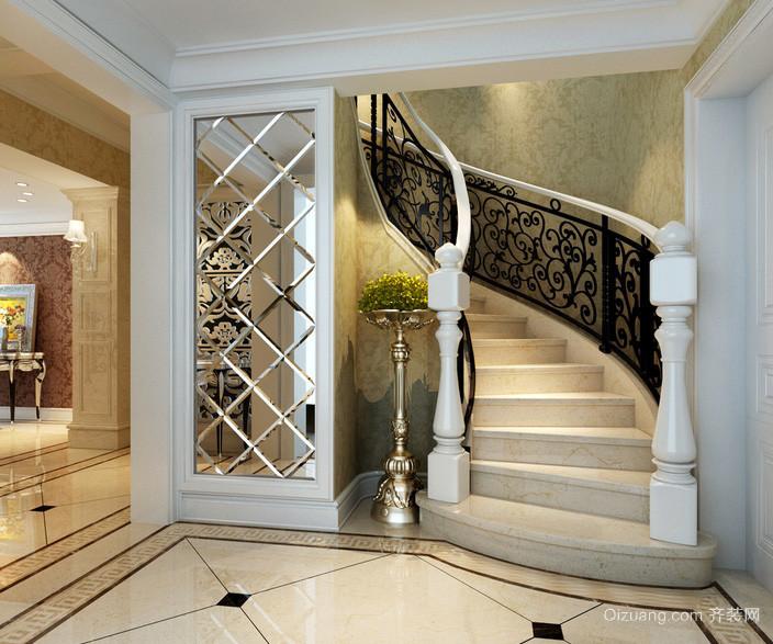 欧式奢华大别墅楼梯装修效果图