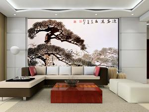 老年公寓客厅沙发水墨画背景墙设计图