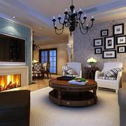 现代美式客厅沙发背景墙设计效果图