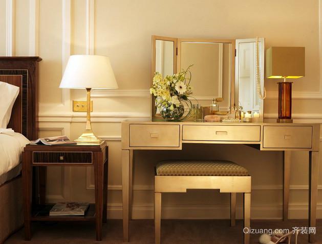 别墅欧式简约风格暖色系卧室梳妆台装饰