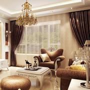 欧式奢华风格别墅客厅深色系飘窗装修效果图