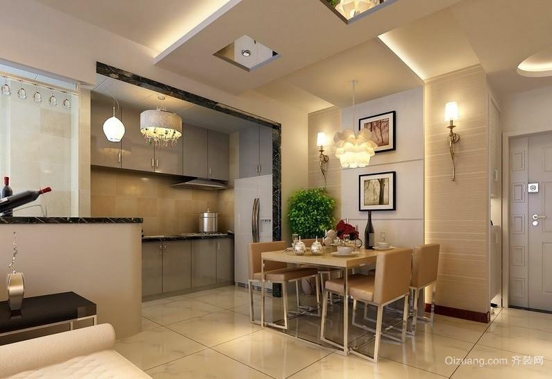 现代简约单身公寓餐厅吊顶装修效果图