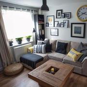 90平米小户型北欧风格深色系客厅装修效果图