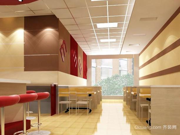 80平米简约风格现代快餐店吧台装修效果图