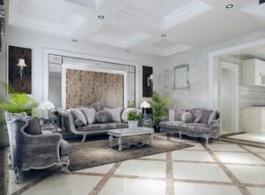 精致简约的大户型沙发背景墙装修效果图
