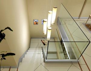 都市简约复式楼楼梯玻璃扶手装修效果图