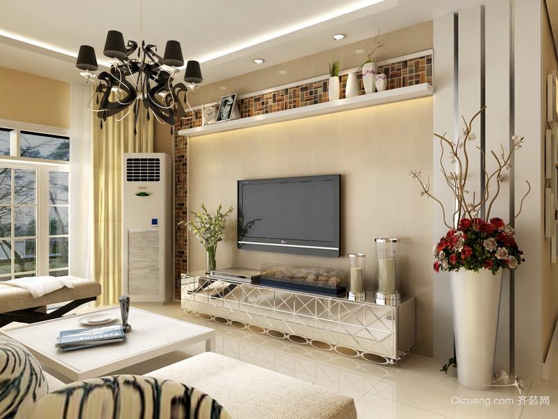 现代大户型公寓影视墙装修效果图大全