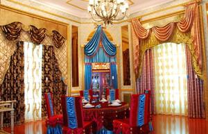 别墅时尚风格飘窗窗帘效果图