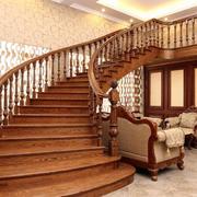 美式小型复式楼实木楼梯装修效果图