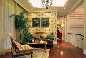 复式楼小客厅液体墙纸背景墙装修效果图