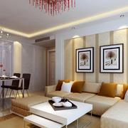 90平米一居室客厅沙发背景墙设计效果图